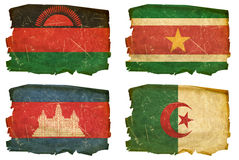 Set Flags old # 45. Set Flags old, isolated on white background. Malawi, Suriname, Cambodia,Algeria Stock Photo