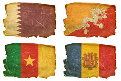 Set Flags old # 46. Set Flags old, isolated on white background. Qatar, Bhutan,Cameroon,Andorra Royalty Free Stock Photos