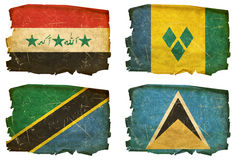 Set Flags old # 47. Set Flags old, isolated on white background. Iraq, Saint Vincent and the Grenadines, Tanzania, Saint Lucia Royalty Free Stock Photography
