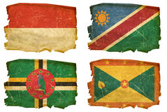 Set Flags old # 48. Set Flags old, isolated on white background. Monaco, Namibia, Dominica, Grenada Royalty Free Stock Photo