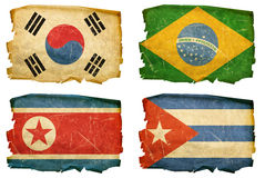 Set Flags old # 5. Set Flags old, isolated on white background. South Korea, Northe Korea, Brasilia, Cuba royalty free stock photo