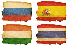 Set Flags old # 6. Set Flags old, isolated on white background. Russia, Spain,Hungary,Thailand royalty free stock photo