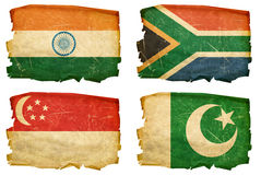 Set Flags old # 7. Set Flags old, isolated on white background. India, South Africa, Pakistan, Singapore Royalty Free Stock Photo