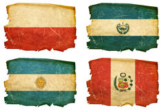 Set Flags old # 8. Set Flags old, isolated on white background. Poland, El Salvador, Argentina, Peru Stock Image