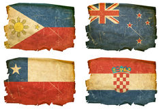 Set Flags old # 9. Set Flags old, isolated on white background. Philippines, New Zealand, Chile, Croatia Royalty Free Stock Images