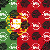 Set of flags. Pattern for Euro 2016 France football championship. A soccer ball pattern and  a Portugal flag Stock Photography