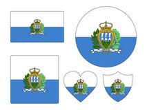 Set of Flags of San Marino. Vector illustration of the Set of Flags of San Marino royalty free illustration
