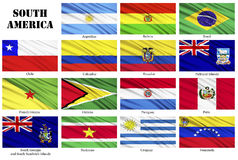 Set of flags of South American countries in alphabetical order Stock Photos