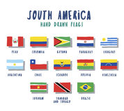 Set of flags of South American countries. Hand drawn cartoon style royalty free illustration