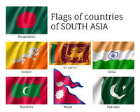 Set of flags of south Asia Stock Photos