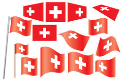 Set of flags of Switzerland Stock Photography
