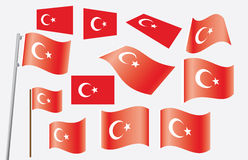 Set of flags of Turkey. Vector illustration Royalty Free Stock Photos