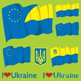 Set of flags Ukraine and EU Stock Images