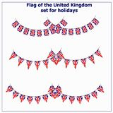 Set with flags United Kingdom. Bright set with flags United Kingdom for holidays. Vector illustration royalty free illustration