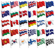 Set of flags with waves and gradients Stock Photos