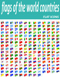 Set flags of the world countries flat icons vector illustration Royalty Free Stock Photos