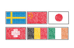 Set flags of the world icon in cartoon scribble style Stock Photography
