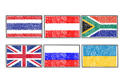 Set flags of the world icon in cartoon scribble style. Vector set flags of the world icon in cartoon scribble style on a white background Royalty Free Stock Photos