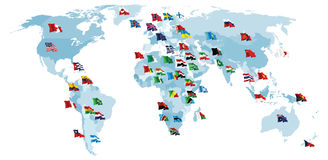 Set of flags. World map. Royalty Free Stock Images