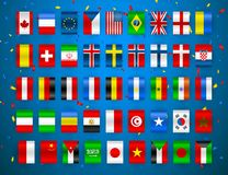 Set of Flags of world sovereign states. Colorful flags of different countries of the europe and world. Vector illustration.  vector illustration