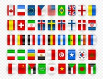 Set of Flags of world sovereign states. Colorful flags of different countries of the europe and world. Vector illustration royalty free illustration