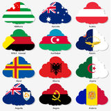 Set Flags of world sovereign states in form Royalty Free Stock Images
