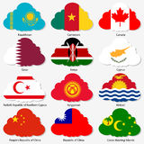 Set Flags of world sovereign states in form Stock Image