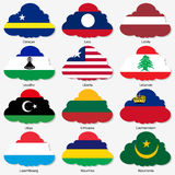 Set Flags of world sovereign states in form Royalty Free Stock Photos