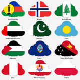Set Flags of world sovereign states in form Stock Images