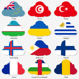 Set Flags of world sovereign states in form. Set  Flags of world sovereign states in  form  clouds. Vector illustration. Set number 16. Exact colors. Easy Stock Images