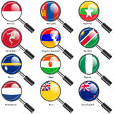 Set  Flags of world sovereign states magnifying glass. Stock Photos