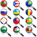 Set  Flags of world sovereign states magnifying glass. Stock Image