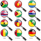 Set  Flags of world sovereign states magnifying glass. Royalty Free Stock Photos
