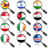 Set  Flags of world sovereign states magnifying glass. Stock Photo