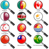 Set  Flags of world sovereign states magnifying glass. Royalty Free Stock Photography