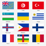 Set Flags of world sovereign states. Vector Stock Photo