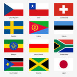 Set Flags of world sovereign states. Vector Royalty Free Stock Images