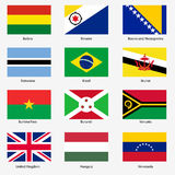 Set Flags of world sovereign states. Vector stock illustration