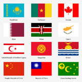 Set Flags of world sovereign states. Vector Royalty Free Stock Photos