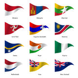Set  Flags of world sovereign states. Vector. Set  Flags of world sovereign states triangular shaped. Vector illustration Royalty Free Stock Photography