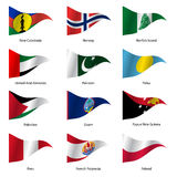 Set  Flags of world sovereign states. Vector. Set  Flags of world sovereign states triangular shaped. Vector illustration Royalty Free Stock Photos
