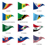 Set  Flags of world sovereign states. Vector Royalty Free Stock Image