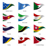 Set  Flags of world sovereign states. Vector. Set  Flags of world sovereign states triangular shaped. Vector illustration Royalty Free Stock Images
