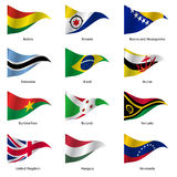 Set  Flags of world sovereign states. Vector. Set  Flags of world sovereign states triangular shaped. Vector illustration Stock Photos