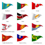 Set  Flags of world sovereign states. Vector. Set  Flags of world sovereign states triangular shaped. Vector illustration Stock Images