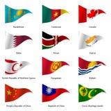 Set Flags of world sovereign states. Vector. Set Flags of world sovereign states triangular shaped. Vector illustration royalty free illustration