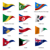 Set  Flags of world sovereign states. Vector. Set  Flags of world sovereign states triangular shaped. Vector illustration Royalty Free Stock Photo