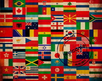 Set of flags. Set of world flags on texture and stamp Royalty Free Stock Image