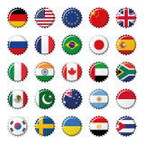 Set of 25 flags world top countries on bottle caps Stock Images