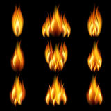 Set of flame. Flames of different shapes on a black background. EPS10. Mesh Royalty Free Stock Image